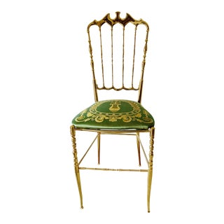 1950s Vintage Italian Polished Brass Chiavari Chair For Sale