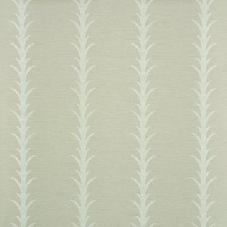 Schumacher X Celerie Kemble Acanthus Stripe Vinyl Wallpaper in Taupe For Sale