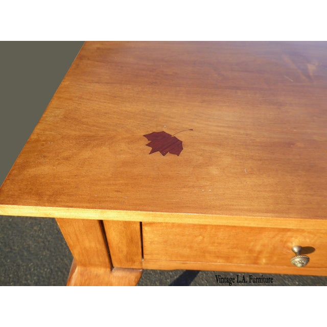 Queen Anne Birch Wood Cedar Lined Two Drawer Desk with Leaf Onlay Please note: Not sure if this is Birch Wood or Maple...