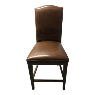 Modern Restoration Hardware Hudson Parsons Leather Bar Chair For Sale