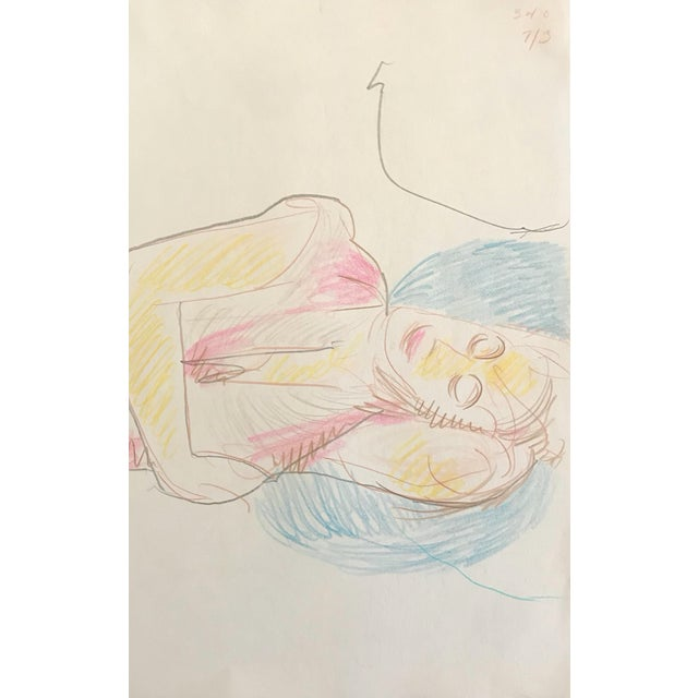 Resting Female Figurative Drawing by James Bone For Sale - Image 4 of 4