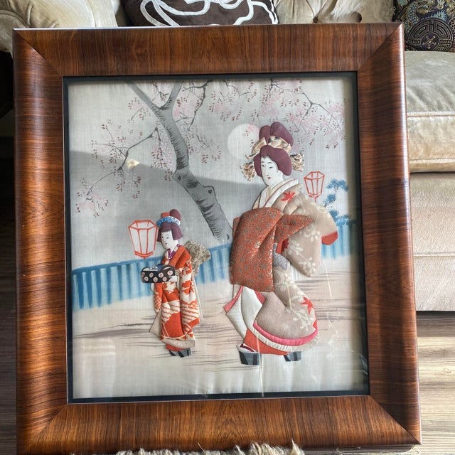 Traditional Japanese Silk & Brocade Art, Framed For Sale - Image 13 of 13