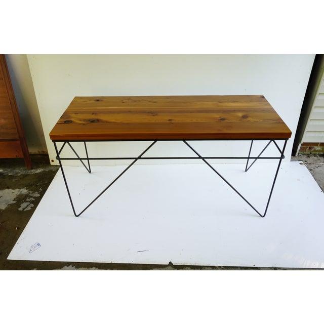 Modern Industrial Steel & Cedar Desk - Image 8 of 8