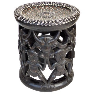 African Stool or Side Table With Shells & Coins From Nigeria For Sale