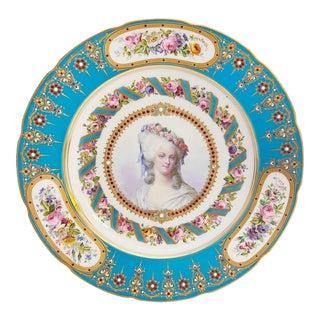 18th Century Sevres Hand Painted Blue Celeste-Ground Plate Depicting Portrait of Marie Thérèse Louise of Savoy, Princesse De Lamballe For Sale