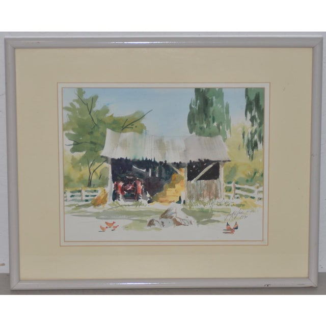 """Watercolor Jake Lee (1915-1991) Original Watercolor """"Tractor in the Barn"""" C.1990 For Sale - Image 7 of 7"""