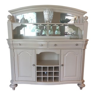 Broyhill Sideboard Hutch With Wine Bottle Storage and Glass Rack For Sale