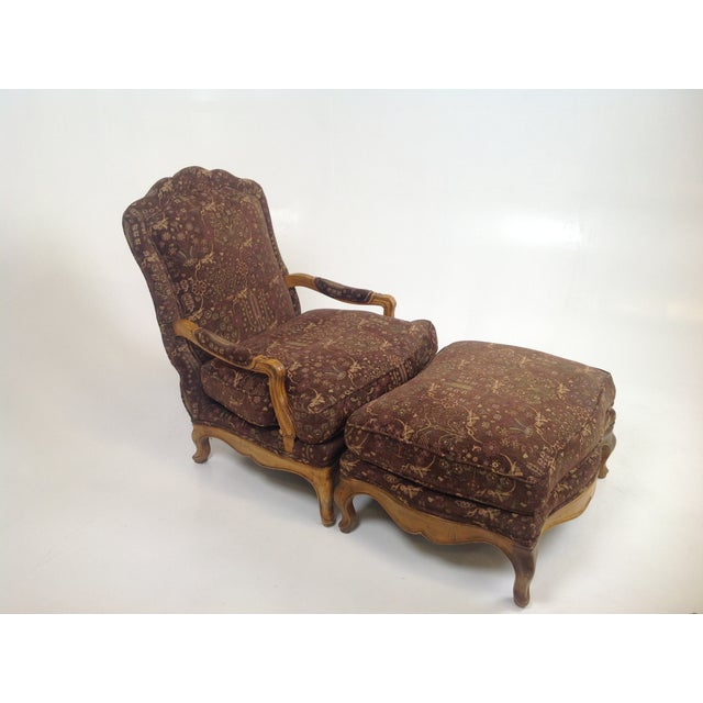 Baker Country French Lounge Chair & Ottoman - Image 2 of 8