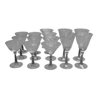 Vintage Romance Fostoria Glasses - Set of 14 For Sale