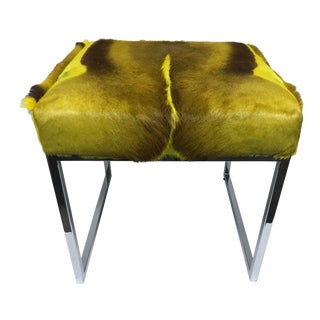 African Cube Frame Springbok Fur Upholstered Ottoman For Sale