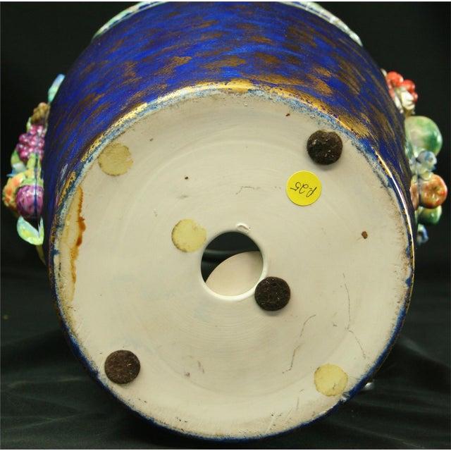 Italian Majolica Blue Ceramic Umbrella Stand Vase - Image 9 of 9