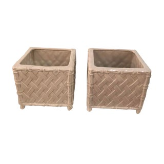 Vintage Hollywood Regency Nora Fenton Numbered Italian Faux Bamboo Ceramic Pots Planters -A Pair For Sale