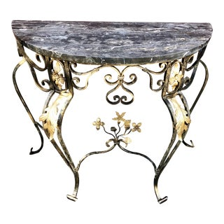 Hollywood Regency Italian Marble & Wrought Iron Demi Lune/Console Table