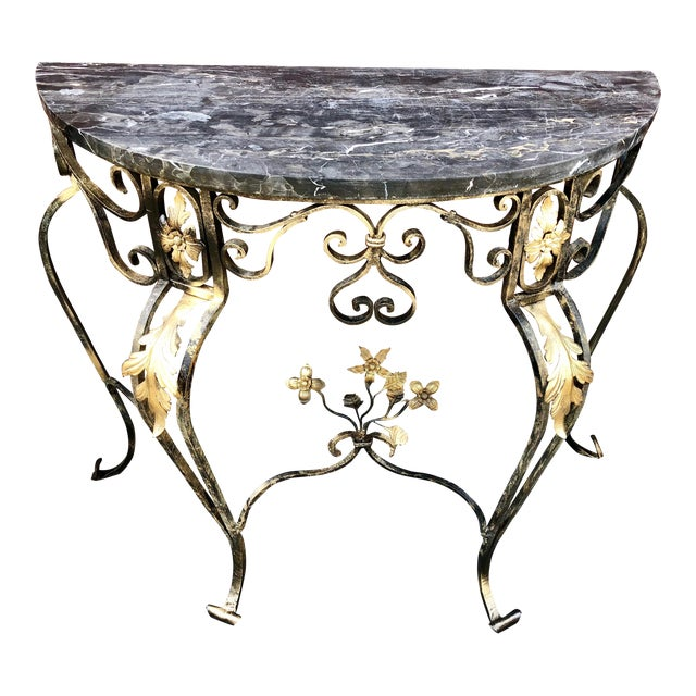 Hollywood Regency Italian Marble & Wrought Iron Demi Lune/Console Table For Sale