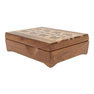 Marquetry Mahogany Wood Storage Box Signed Babules For Sale