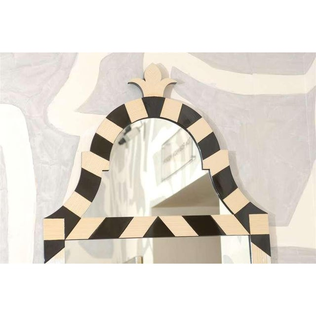 Fabulous Pair of Modern High Style Mirrors in Cream and Black For Sale - Image 4 of 10