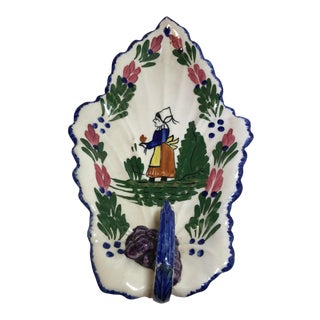 Vintage Blue Ridge Southern Potteries French Pheasant Milady Leaf Shaped Celery Dish For Sale