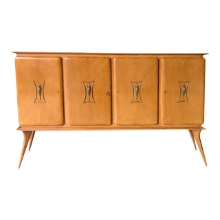 Italian Mid-Century 4-Door Sycamore Credenza in the Style of Ico Parisi For Sale