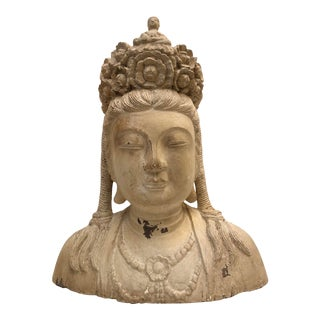 Mid-Century Deity Wood Bust Sculpture For Sale