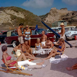 """1957 """"Beach Picnic With Surfers and Their Chevrolet Nomad"""" Photo by Sid Avery (12x12 Canvas) For Sale"""