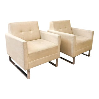 Vintage Chrome Base Linen Chairs - a Pair