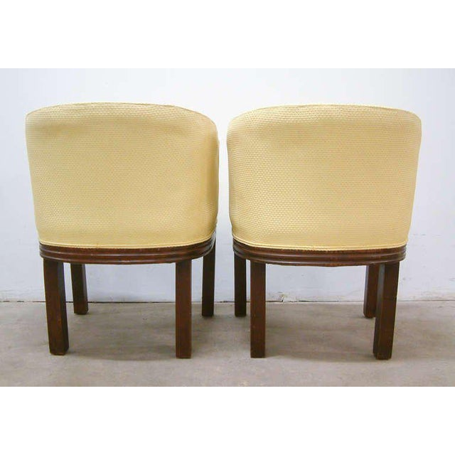 Circa 1950 Mid-Century Upholstered Yellow Arm Chairs - Pair For Sale - Image 9 of 11