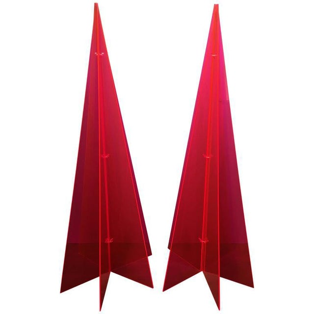 1970s Pink Lucite Tree Form Sculptures - a Pair - Image 8 of 8