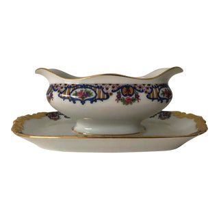 j.p.l. Limoges Rare Design One-Piece Gravy Boat For Sale