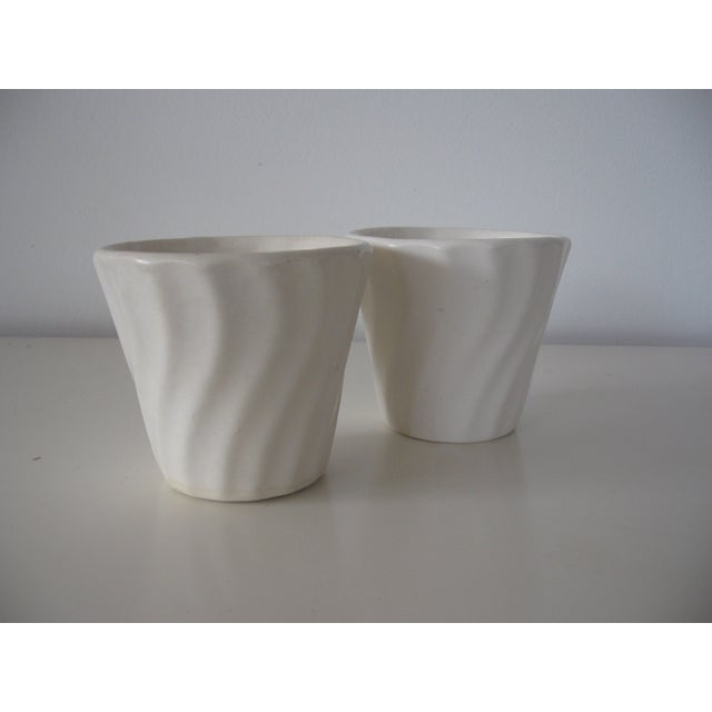 Small Matte White Bauer Swirl Planters - A Pair - Image 2 of 5