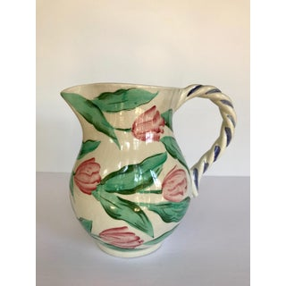 Vintage Pink and Green 1980's Hand Painted Vietri Italian Pitcher Preview