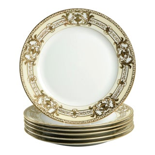 1920s Noritake Encrusted Gold Urn Dinner Plates - Set of 6 For Sale