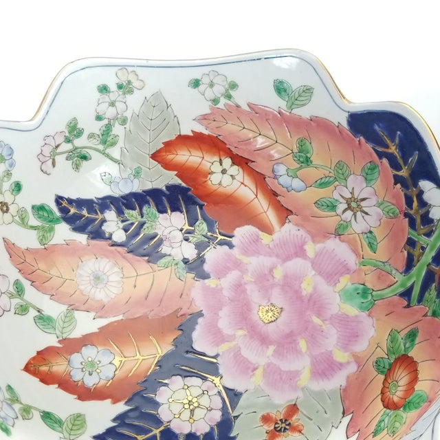 Large Chinese Porcelain Tobacco Leaf Bowl With Gold Trim - Feng Shui - Asian Palm Beach Boho Chic Flowers Peony Tropical Coastal For Sale - Image 9 of 13