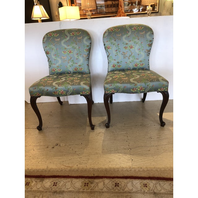18th Century Georgian Side Chairs Dressed Up in Scalamandre Upholstery -A Pair For Sale - Image 13 of 13