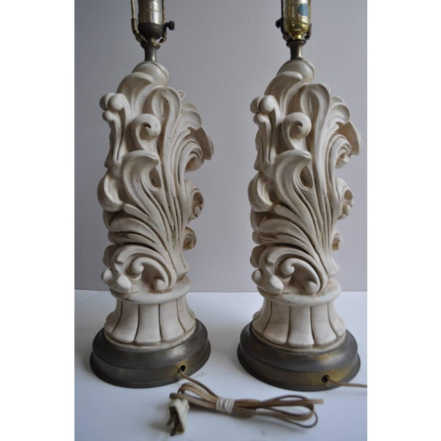 Hollywood Regency Hollywood Regency 1950s Chapman Plaster Sculptural Lamps For Sale - Image 3 of 6