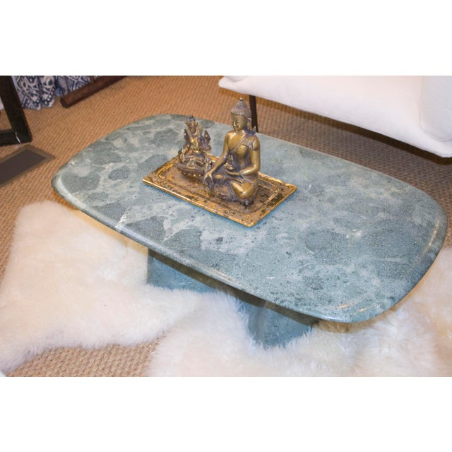 Asian Kim Hyun Joo Green Weathering Low Marble Table For Sale - Image 3 of 5
