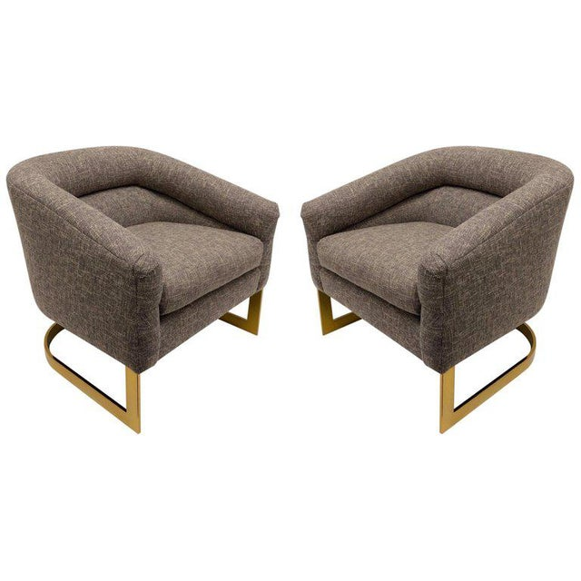 Milo Baughman Brass and Fabric Lounge Chairs - a Pair For Sale - Image 9 of 9