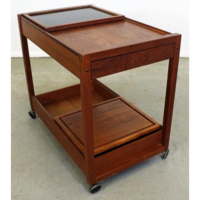 Danish Modern Mid-Century Danish Modern Teak Sliding Door Bar Cart For Sale - Image 3 of 11