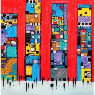 """Abstract """"City 2"""" Original Artwork by Ekaterina Ermilkina For Sale"""