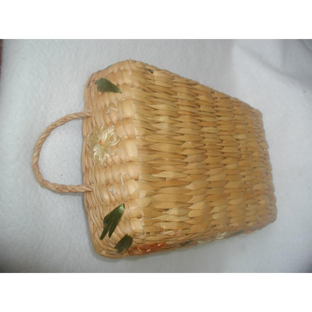 20th century, never used, decorative rattan handled serving cover or basket for rectangular casserole dishes. Lined in...