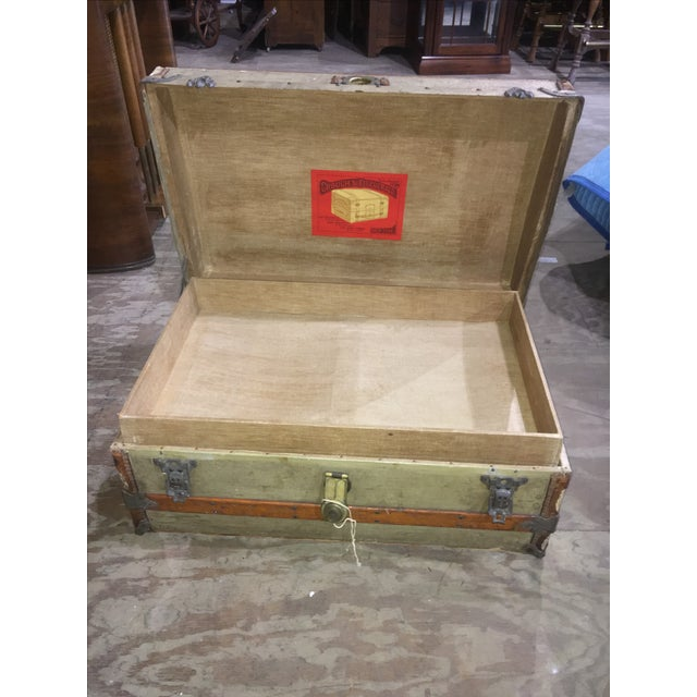 Rustic Crouch & Fitzgerald Antique Flat Top Trunk For Sale - Image 3 of 11