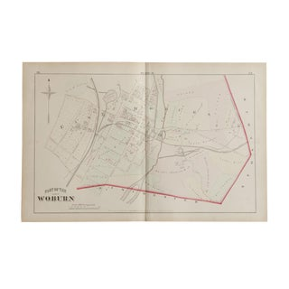 Antique Woburn Massachusetts Atlas Map Plate H For Sale