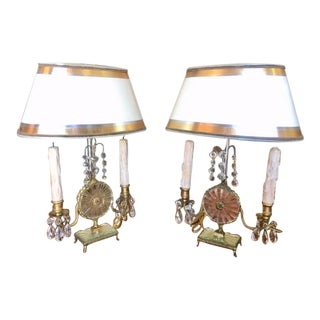 1920's French Bronze Dore & Mirror Girondole Lamps - a Pair For Sale
