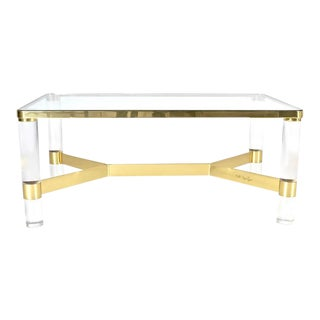 Karl Springer Brass and Lucite Cocktail Table For Sale