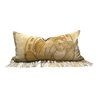 Western Fringed Suede Pillow For Sale