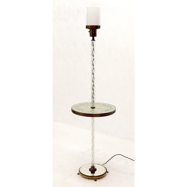 Twisted Glass Pole Reversed Painting Table Art Deco Floor Lamp For Sale - Image 6 of 11