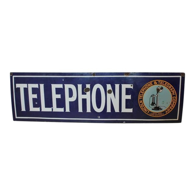 1920s Vintage Lincoln Telephone and Telegraph Company Sign For Sale