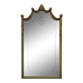 Louis XV Style Green and Gold Carved Drape Floral Etched Glass Wall Mirror For Sale