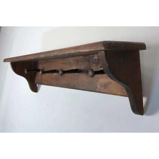 Farmhouse Rustic Mounted Shelf W/ Hanging Pegs For Sale - Image 3 of 9