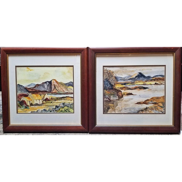 Irish Pair of Large Watercolors by Noel Hume - 2006 - in the Style of Paul Henry For Sale - Image 9 of 9