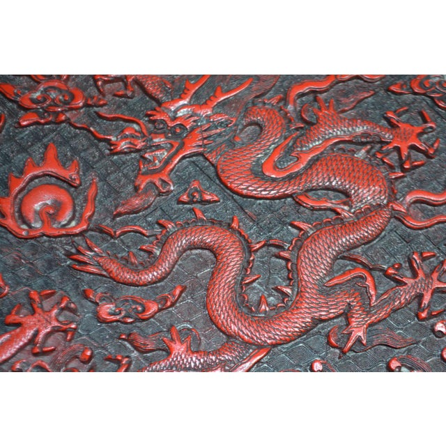 1970s Asian Red Lacquer Cinnabar Tray W/ Carved Dragons For Sale - Image 4 of 8